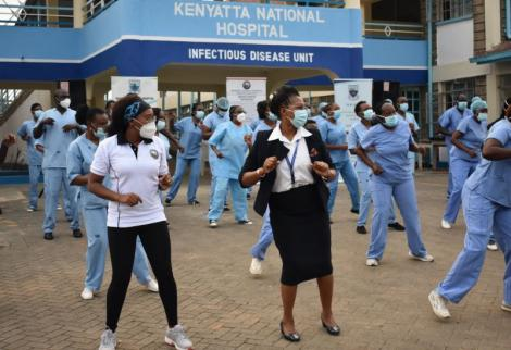 Nurses at the KNH IDU Unit based at Mbagathi participating in a Zumba class on 28th May 2020.