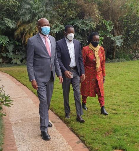 Gatundu South MP Moses Kuria, Narc Kenya leader Martha Karua and TSP leader Mwangi Kiunjuri during a presser on August 12 2021
