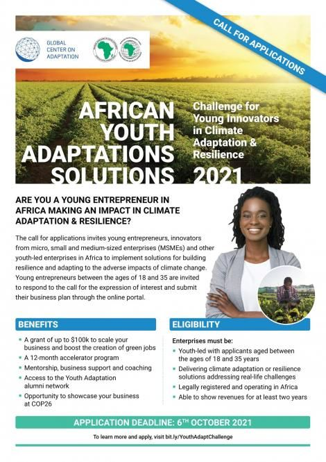 Poster announcing the Youth Adapt Challenge by the Global Center on Adaptation (GCA).