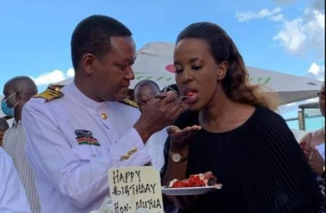 Machakos Governor Alfred Mutua offers former Wife Lilian Ng'ang'a a piece of cake during his birthday Party.