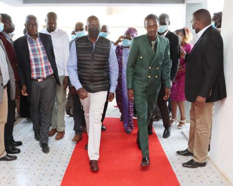 Deputy President William Ruto(Right) and Bishop John(Left) during the launch of Spirit TV on Saturday, October 2, 2021.