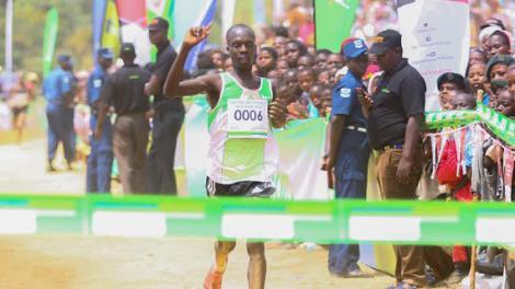 Hosea Mwok Macharinyang wins the Madoka Half marathon in Taita Taveta County in October 2016.