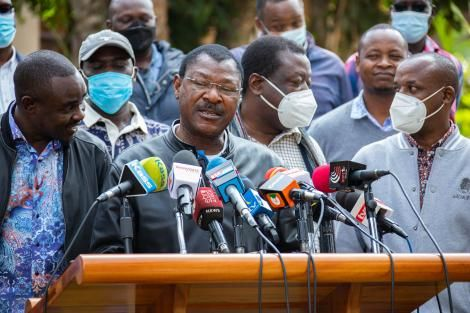 FORD-Kenya Party Leader Moses Wetangula during a press briefing at Hermosa Gardens in Karen on Tuesday, July 20, 2021.