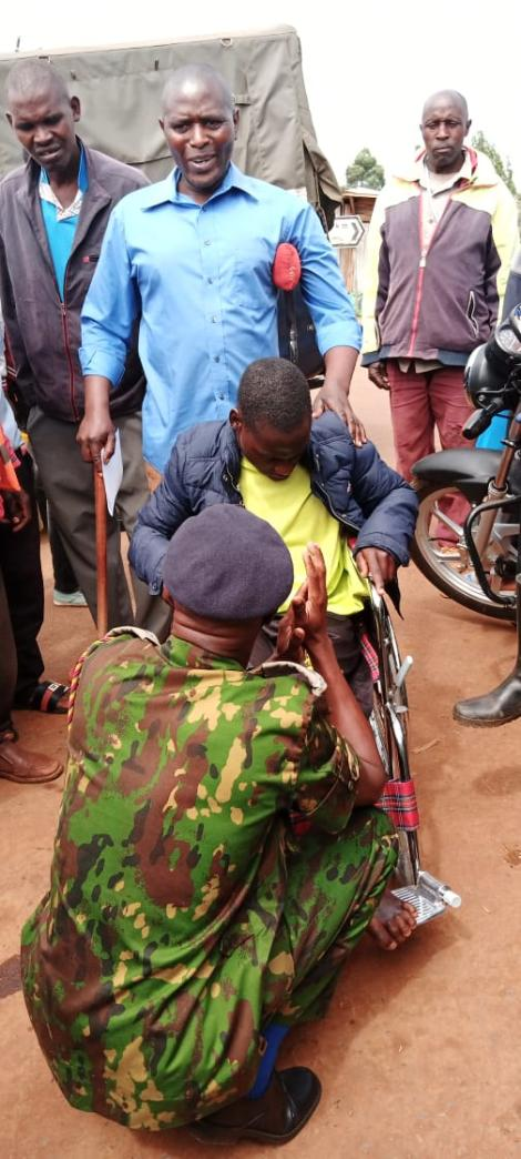 Kisii Police Boss Francis Kooli Donating Wheelchairs in Kisii on Tuesday October 12