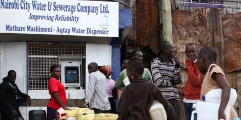 Undated file image of Nairobians accessing Nairobi City Water and Sewerage Company Limited (NCWSC) in Mathare slums