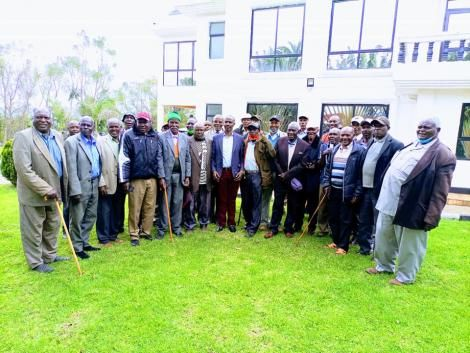 ODM nominated Mp Wilson Sossion with elders at his residence
