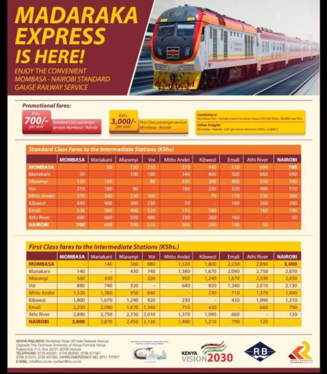 Madaraka Express train Kenya fare chart