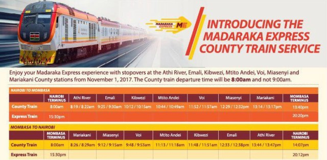 County Train Madaraka Express Fare ChartKeSchedule