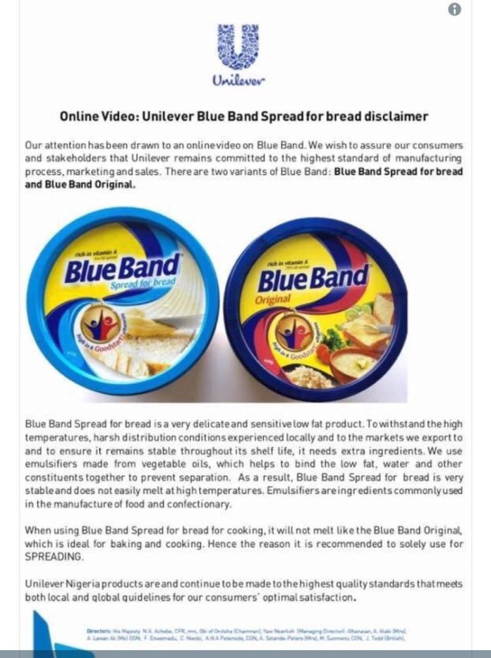 Kenyan-Collective-BlueBand-Spread-Safe-For-Consumption-Unilever-Assures