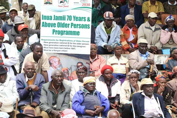 The elderly attending the launch of Inua Jamii cash transfer programme in Nyeri in 2017