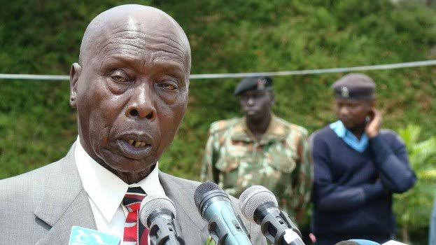 Former President Daniel Moi giving an address during a  past function. He ordered Mwai Kibaki to sell his company at Ksh20 bob.