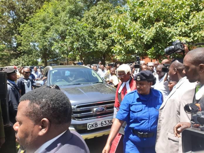 Kiambu Governor James Nyoro arrives for his swearing-in ceremony in Kiambu on Friday, January 31