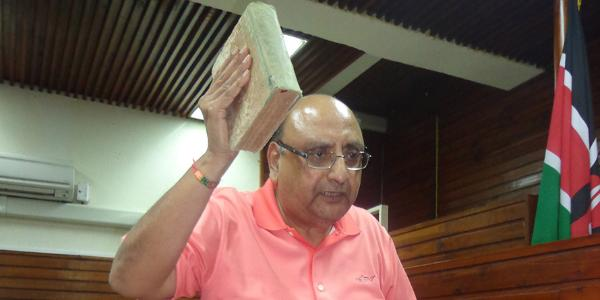 Businessman Ashok Doshi at the High Court in Mombasa on June 18, 2018 moments before he started giving evidence in a suit against CBK and Imperial Bank Ltd.