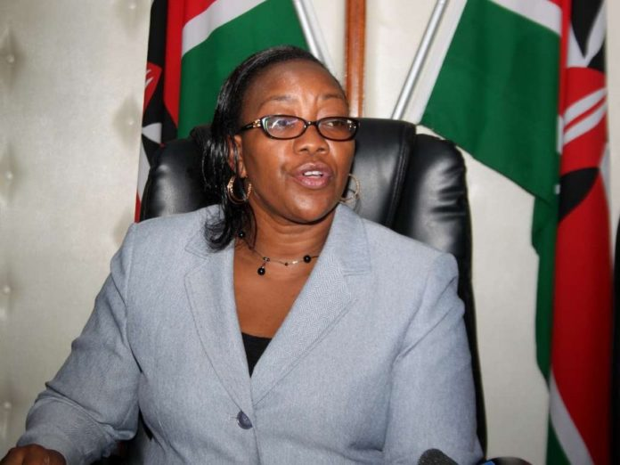 Health CS Sicily Kariuki who was summoned by Senates Adhoc Committee after her ministry cancelled a tender with SevenSeas Technology valued at Ksh4.9 billion.