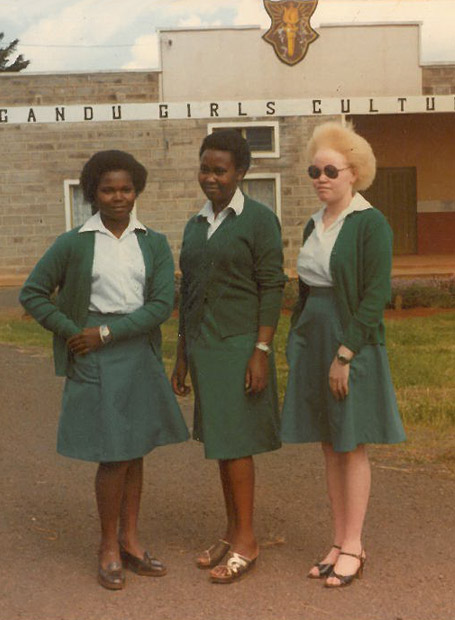 Justice Mumbi Ngugi (R) in an undated photo at Ngandu Girls High School