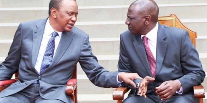 President Uhuru Kenyatta with DP Ruto at an official meeting in 2019