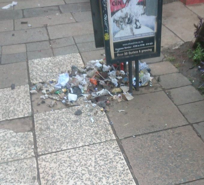 Am emptied litter bin in the Nairobi CBD on Tuesday, March 3, 2020.