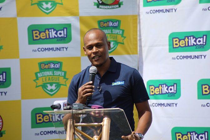 Betika Kenya Business Head John Mbatiah addresses the press at Camp Toyoyo on February 24.
