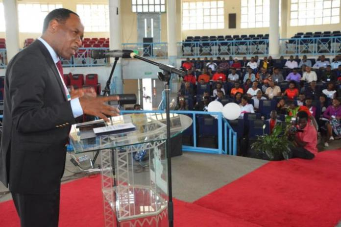 KFCB CEO Ezekiel Mutua addressing a forum at Kenyatta University in Nairobi on February 22, 2020