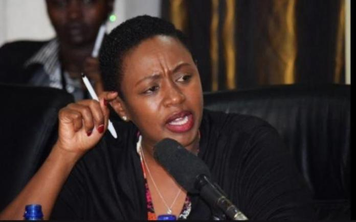 Murang'a Woman Rep Sabina Chege addressing the media in December, 2018.