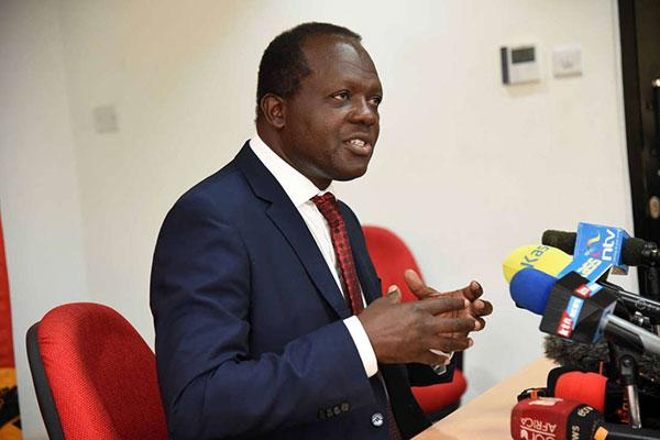Jubilee Party secretary-general Raphael Tuju addresses journalists in Nairobi on July 2, 2018.