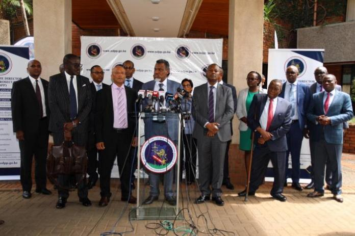 Ethics and Anti-Corruption Commission (EACC) CEO Twalib Mbarak, Director of Public Prosecutions (DPP) Noordin Haji and Directorate of Criminal Investigations (DCI) chief George Kinoti addressing a press conference in Nairobi on Thursday, March 5, 2020.