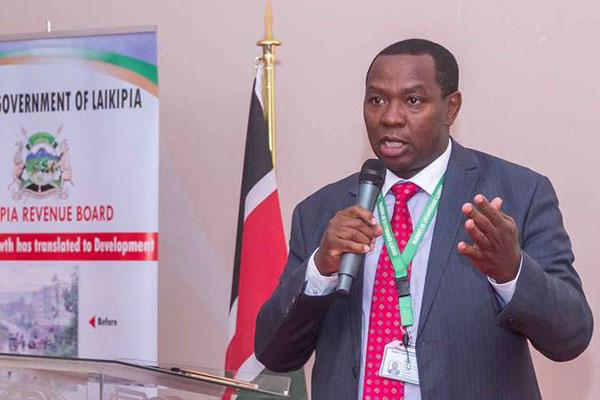 A photo of Laikipia Governor Ndiritu Muriithi addressing residents during the release of the county's annual financial report, in Nanyuki on September 5, 2019.