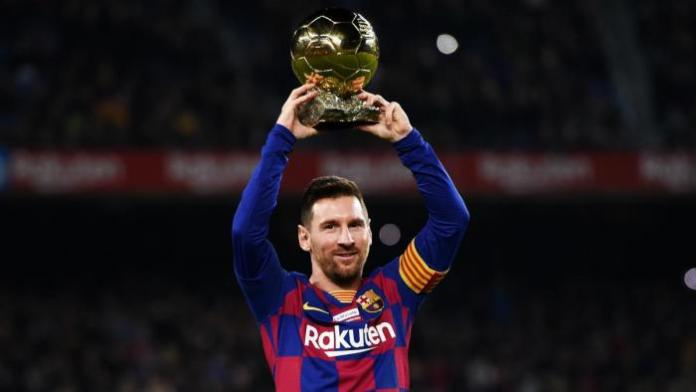 Lionel Messi parades his 6th Ballon d'Or award at the Camp Nou, Barcelona in December 2019