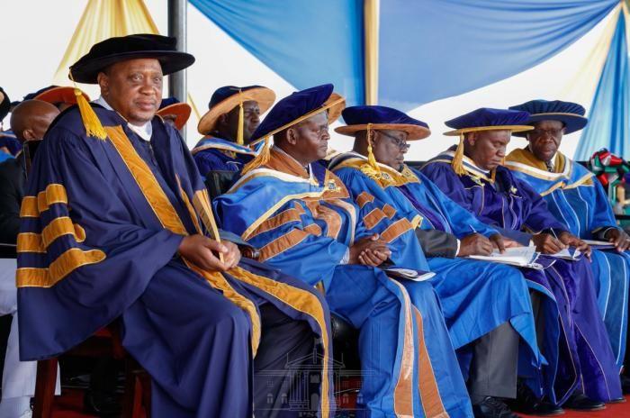 President Uhuru Kenyatta attends the fourth graduation ceremony at the Kibabii University on November 23