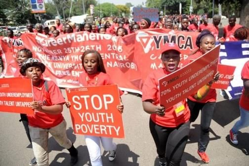 Youths in Nairobi take to the streets to protest unemployment on November 25, 2016.