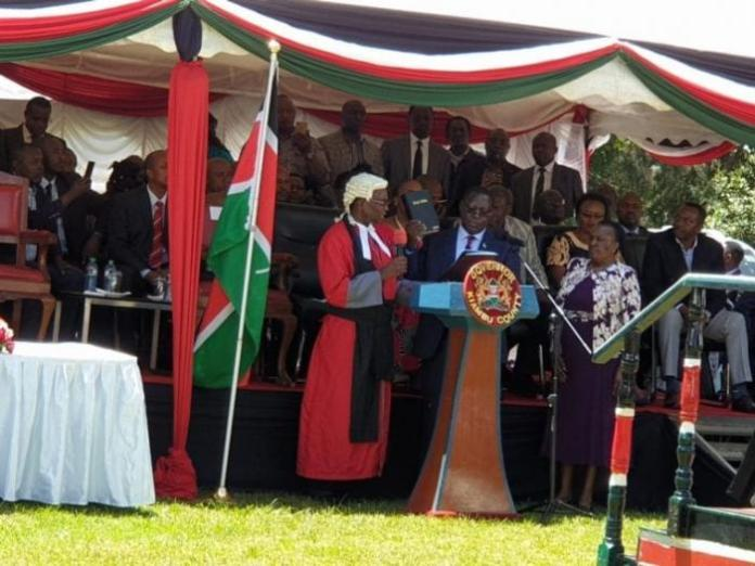 Kiambu governor James Nyoro during his swearing in on Friday, January 31
