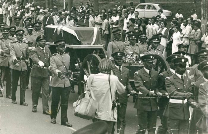 Jomo Kenyatta's escorts on the way to his burial ceremony in 1978.