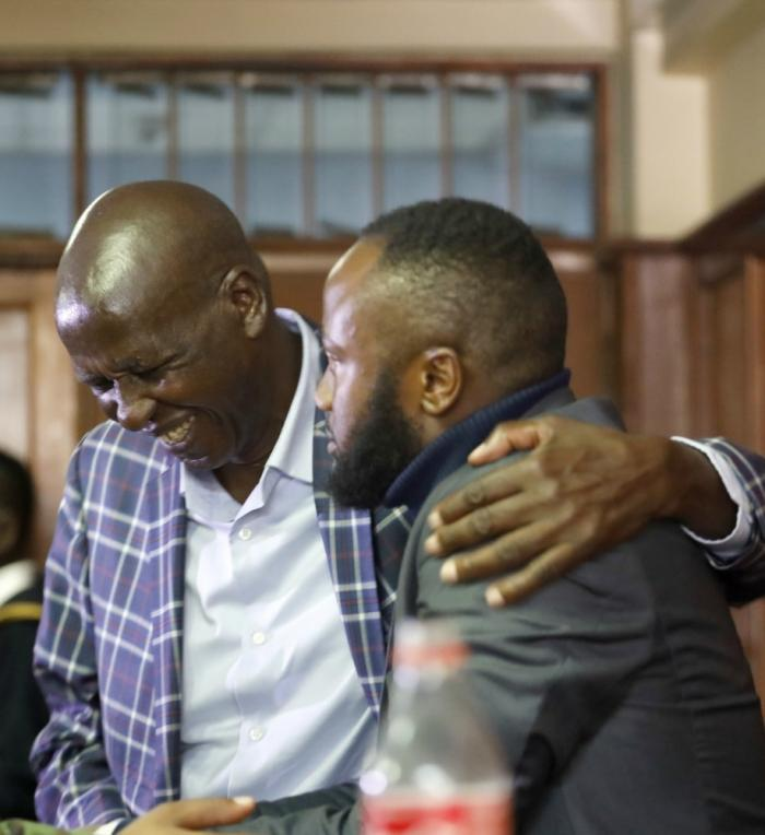 Jacque Maribe's father comforts Jowie Irungu in court on NOVEMBER 22, 2019