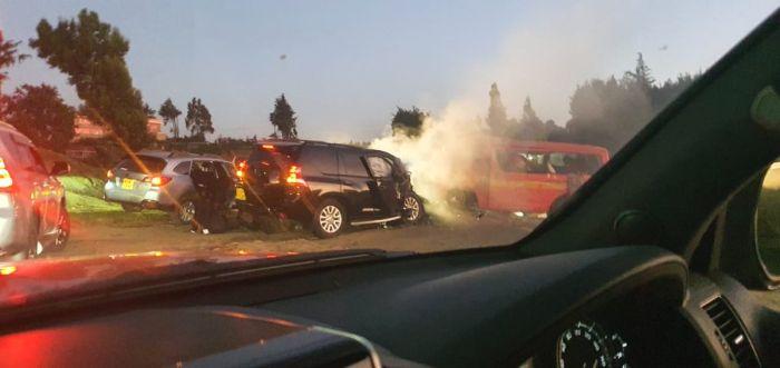 The scene of the accident involving CS Raphael Tuju on February 12, 2020.