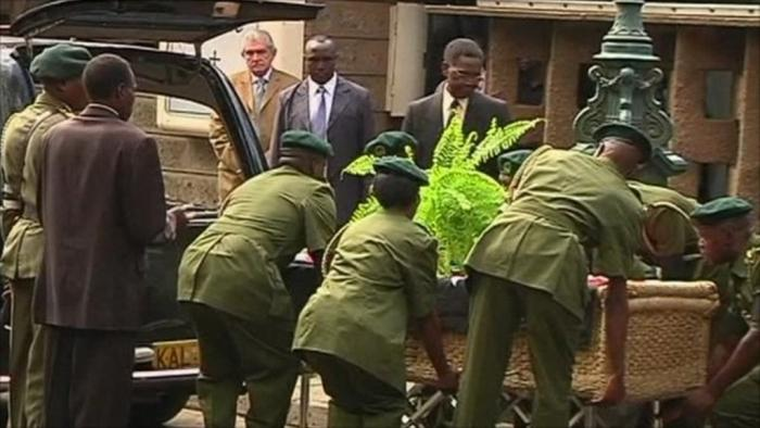 Security officials prepare to receive Wangari Maathai's body on her burial date