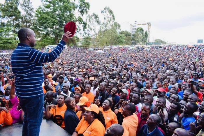 Suna East MP Junet Mohamed showing off the hat to the crowd during Thanksgiving Ceremony in Kibera DC Grounds on November 10, 2019