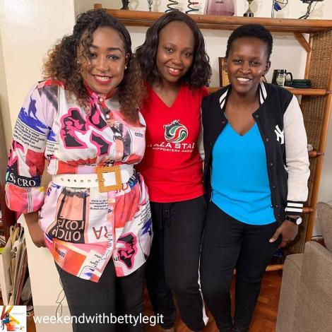 From left: K24 TV news anchor Betty Kyallo, sports personality and journalist Carol Radull, and Sarah Mwangi pose for a photo at Radull's home on March 19, 2020.