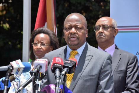 A photo of Health CS Mutahi Kagwe addressing the media outside Afya House on March 18, 2020.
