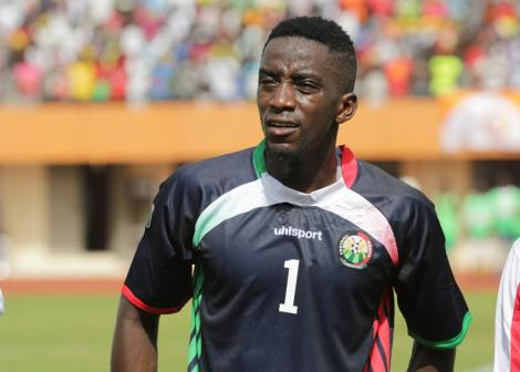 Harambee stars goalkeeper Arnold Origi moments before their Africa Cup Of Nations 2017 qualifier match against Guinea Bissau at the Estadio 24 Setembro in Bissau on March 24, 2016.