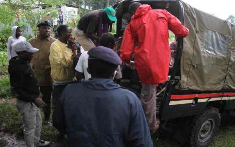 A police van at the scene where a mother and her two kids lost their lives after their house collapsed in Migori County on Monday, April 20, 2020.