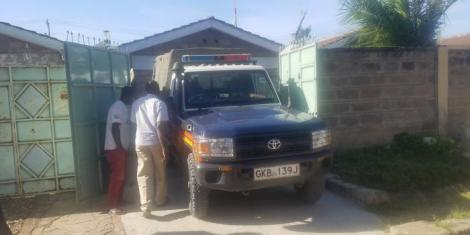 Police officers at the house of the late Sergeant Kipyegon Kenei, a police officer attached to Deputy President William Ruto's office, on Thursday, February 20, 2020