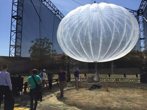 A high altitude WiFi internet hub, a Google Project Loon balloon, on display.