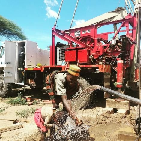 Residents of Lodwar pictured at the new borehole facilitated by Gospel Musician Eunice Njeri and Drill for Life Company on March 19, 2020.