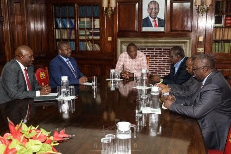 A photo of President Uhuru Kenyatta when he chaired a National Security Council meeting on Friday, March 13, 2020.