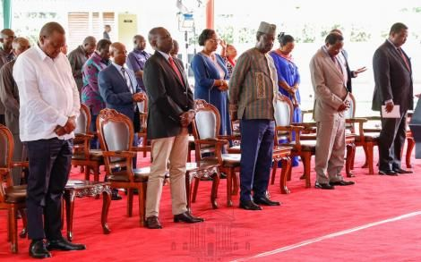 From Left; President Uhuru Kenyatta, Deputy President William Ruto, ODM leader Raila Odinga, WDM-K leader Kalonzo Musyoka, and ANC leader Musalia Mudavadi at State House Nairobi during the National Prayer Day on Saturday, March 21, 2020.