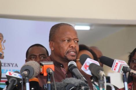 Ministry of Health Cabinet Secretary Mutahi Kagwe addresses the media from the Mbagathi District Hospital on Friday, March 6, 2020.