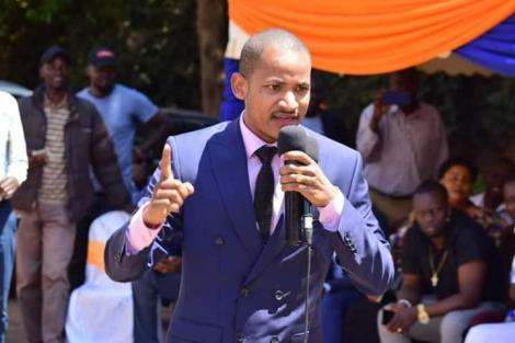 Embakasi East MP Babu Owino addressing a crowd during a past event.