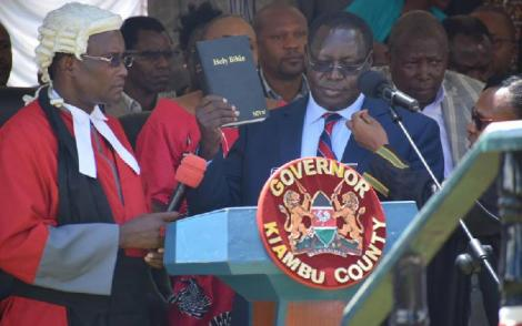 Kiambu Governor James Nyoro during his swearing-in ceremony on January 31, 2020