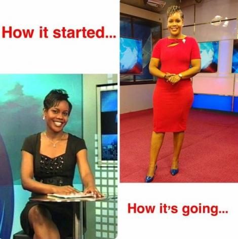 A file image of journalist Jane Ngoiri at K24 (L) and one currently at NTV