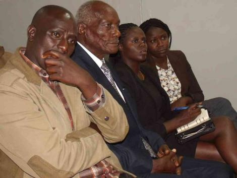 Mzee Jackson Kibor (centre) in court in 2019